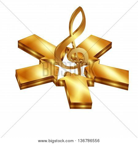 Vector illustration of a gold treble clef surround the star of the arrows. Isolated object on a white background can be used with any text or image.