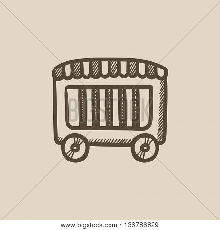 Circus wagon vector sketch icon isolated on background. Hand drawn Circus wagon icon. Circus wagon sketch icon for infographic, website or app.