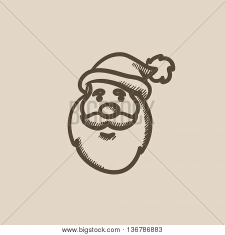 Santa Claus face vector sketch icon isolated on background. Hand drawn Santa Claus face icon. Santa Claus face sketch icon for infographic, website or app.