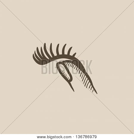 False eyelashes vector sketch icon isolated on background. Hand drawn False eyelashes icon. False eyelashes sketch icon for infographic, website or app.