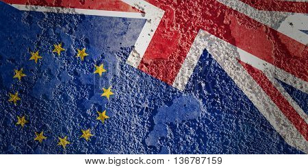 Brexit concept. England flag versus an European flag. Image relative to politic relationships between Europe Union and United Kingdom. Illustration