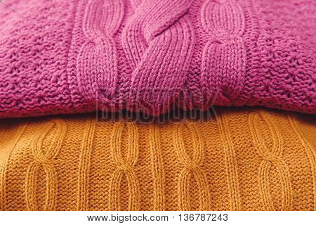Yellow and Pink  Knitted Items.Hand Made ;Fancywork.Background
