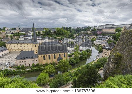 Luxembourg City - Luxembourg - June 30, 2016: Narrow Medieval Street In Beautiful Town Luxembourg, T