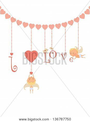 The Valentine's Day card with cupid angel