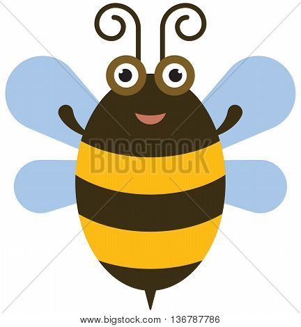The Funny bee icon - color illustration