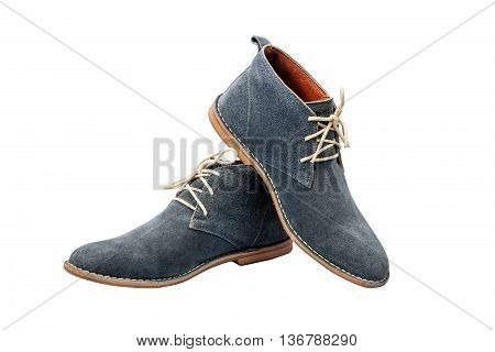 Blue Suede shoes set up on white Background