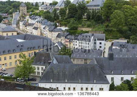 Luxembourg City - Luxembourg - June 30, 2016: Sunny Summer Day In Beautiful Town Luxembourg, The Cap