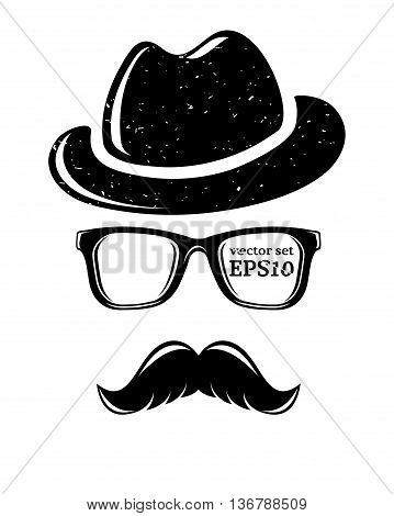 Hipster disguise set, vector illustration for your cool design, eps10