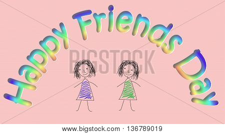 Design made in pencil with two sketchy colored girls on pink background. Vector art for card to celebrate the friendship day. Hand-drown illustration.