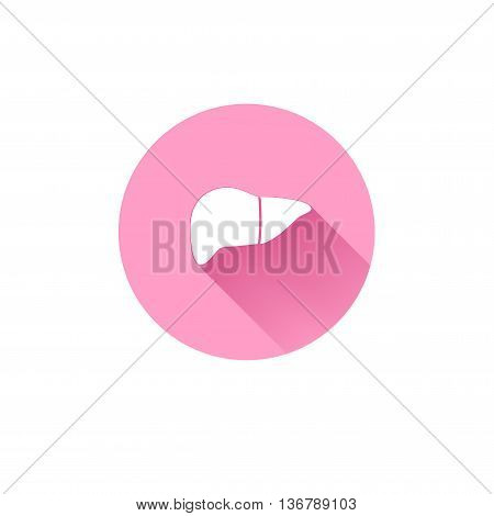 Simple liver icon. Human abdomen internal organs health design