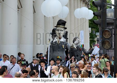 02.07.2016.Russia.Saint-Petersburg.The day of Dostoevsky's work.A puppet procession of famous writers in the city.