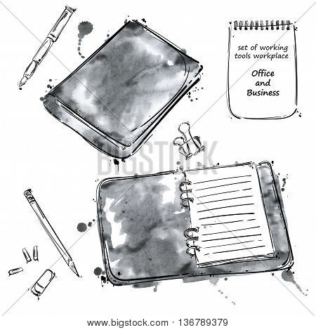 Vector set of working tools: notebook pen pencil eraser paper clip. Office table. Business. Isolate on white background.