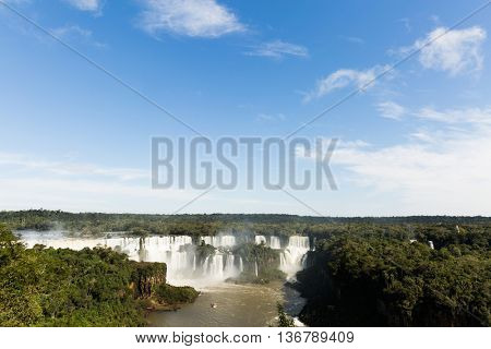 Iguazu Falls, the largest series of waterfalls of the world, located at the Brazilian and Argentinian border. View from Brazilian side