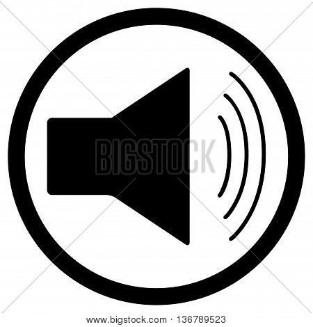 Icon sound monochrome. Sound waves and music speaker sound icon and audio vector illustration