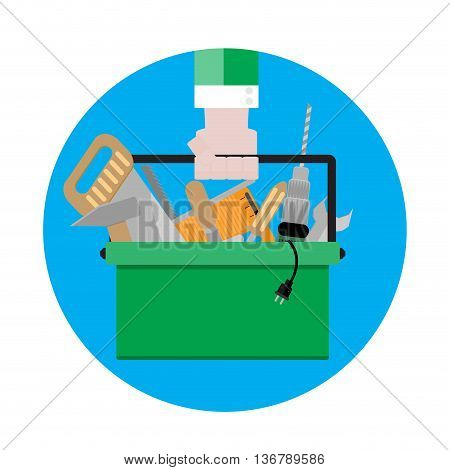 Tool box icon vector. Toolbox with instrument illustration tool kit sign flat design
