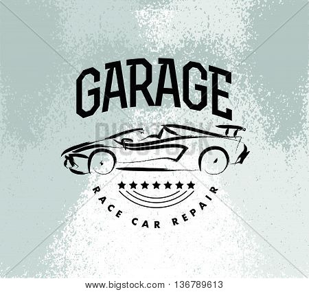 Vector car sketch isolated. Hand drawn car body. Auto advertising, poster, placard, business card, leaflet. Car rent, auto repair, auto saloon logo, insignia. Ink drawing.