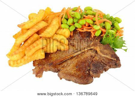 T-bone steak and crinkle cut chips meal with bean salad isolated on a white background