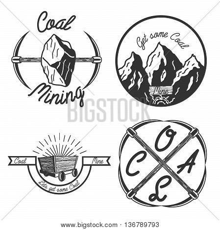 Set of vintage coal mining emblems, labels, badges, logos. Monochrome style