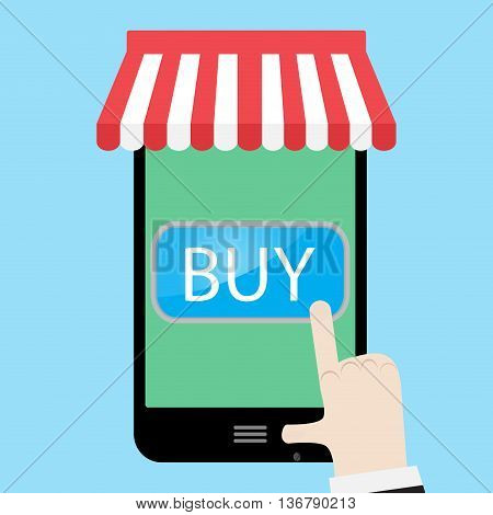 Buy using a smartphone. Buy now button and order now sale and buy button. Vector illustration