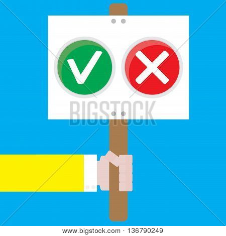 Right to choose the positive and negative. Selection options decision or decide and choose concept vector illustration