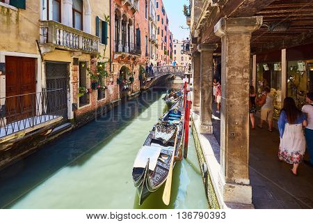 Venice, Italy - June 28, 2016: Landscapes, photos of Venice. City on the water with gondolas and water taxis