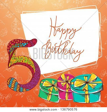 Happy birthday hand lettering. Vector greeting card. Original calligraphic phrase