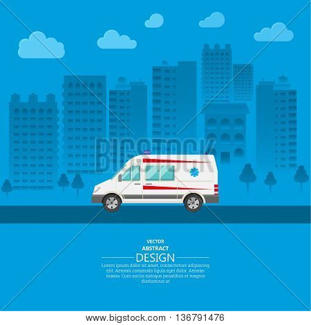 Ambulance car on a city background. The resuscitation vehicle within the city. A vector illustration in flat style