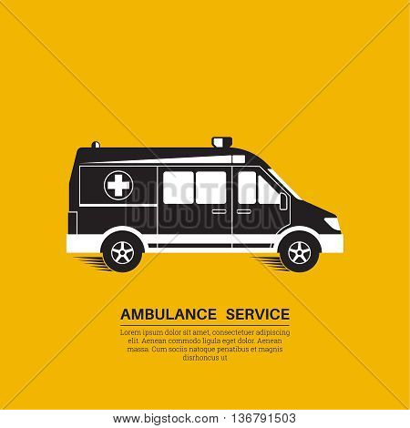 Ambulance car on a yellow background. Resuscitation vehicle. Car of an emergency quick help. A vector illustration in flat style.