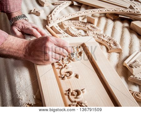 The wizard woodcarving . It is a painstaking process