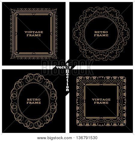 Monogram gold line vintage frame. Greeting cards. Wedding invitations. Retro style. Vector logo template labels and badges