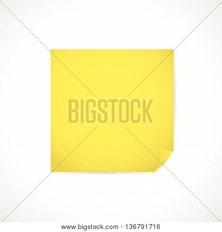 Vector blank clean paper sheet, yellow sticker with curl bent edge, corner, side, angle isolated. Paper sheet template. Business, writing simple illustration. Blank paper mock up, close up.