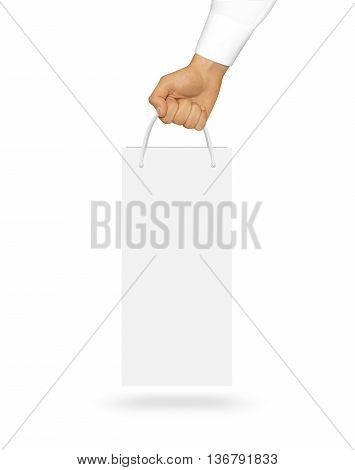 Blank white wine paper bag mock up holding in hand. Empty plastic package mockup hold in hands isolated on white. Consumer pack ready for logo design or identity presentation. Product packet handle.