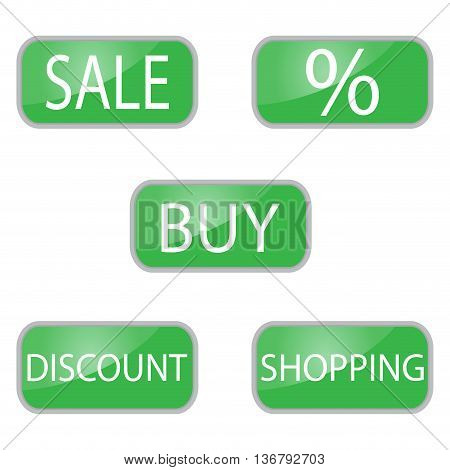 Web button green color for shooping and online shop. Shopping icon for sale sign discount and sale tag. Vector illustration
