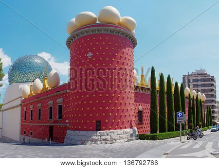 FIGUERES SPAIN - JULY 26: The Dali Theatre and Museum on July 26 2014 in Figueres Catalunia Spain. The museum displays the largest and most diverse collection of works by Salvador Dali.