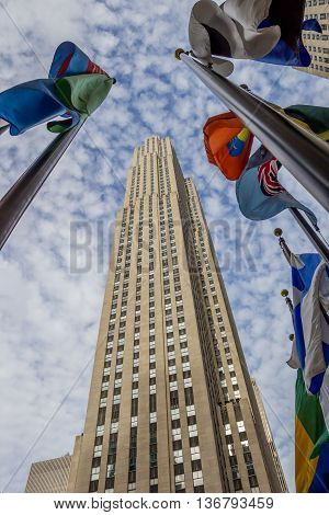 NEW YORK CITY, USA - SEPTEMBER 27, 2015: National flags at Rockefeller center