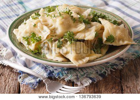 Swabian Cuisine: Dumplings Stuffed With Meat And Spinach Closeup. Horizontal