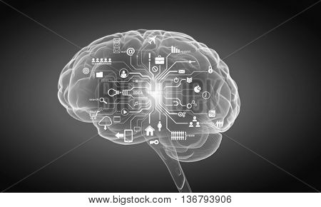 Human head with business ideas