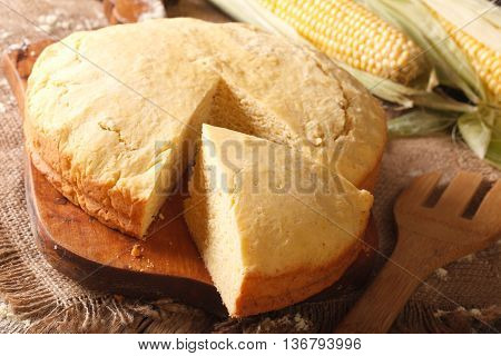 Homemade Fresh-baked Corn Bread Close-up. Horizontal