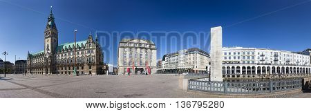 Hamburg - July 7: Panoramic view of the famous town hall and the Alsterarkaden in Hamburg Germany on July 7 2013