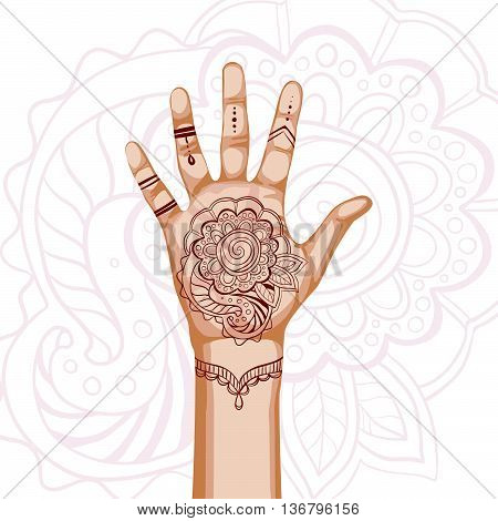 Hand with indian ethnic mehendi ornament. Vector illustration