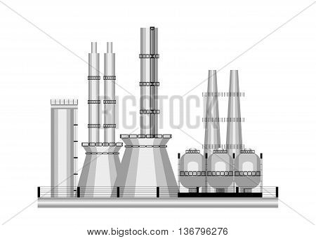 icon industry. Factory with pipes and stairs on white background.