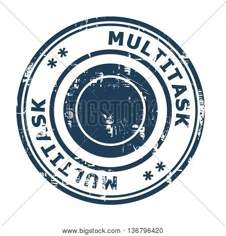Multitask business concept rubber stamp isolated on a white background.