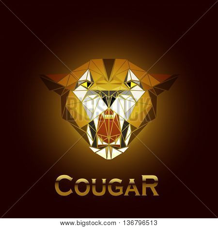 vector illustration abstract portrait of a cougar