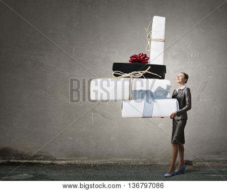 Businesswoman receiving or presenting gift . Mixed media