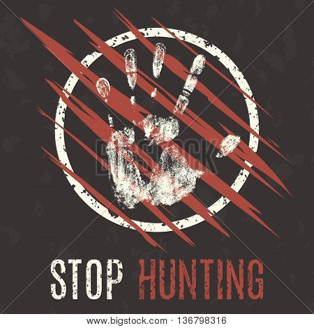 Conceptual vector illustration. Problems of humanity. Stop hunting.