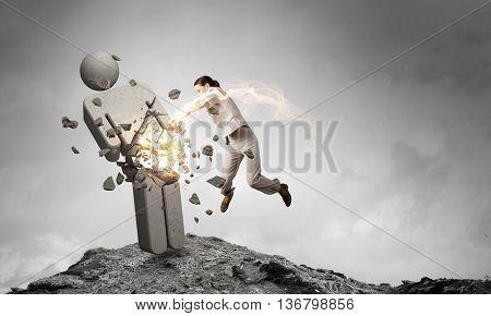 Woman crashing opponent . Mixed media