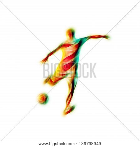 Football or Soccer player kicks the ball. The colorful  illustration on white background.