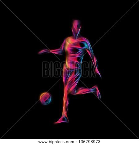 Football or Soccer player kicks the ball. The colorful  illustration on black background.