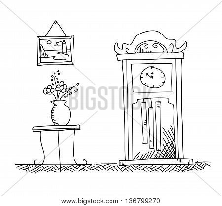Antique Grandfather Clock / Longcase Clock, a hand drawn vector doodle illustration of a house interior with an antique grandfather clock.