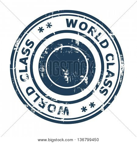 World class business concept rubber stamp isolated on a white background.